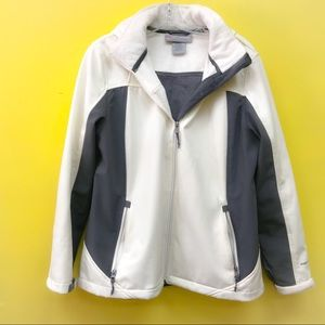 AE Free Country Faux Fur ZIP Up white Gray jacket